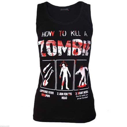 DARKSIDE CLOTHING HOW TO KILL ZOMBIE UNISEX BEATER VEST HORROR BLOOD KILLER GORE